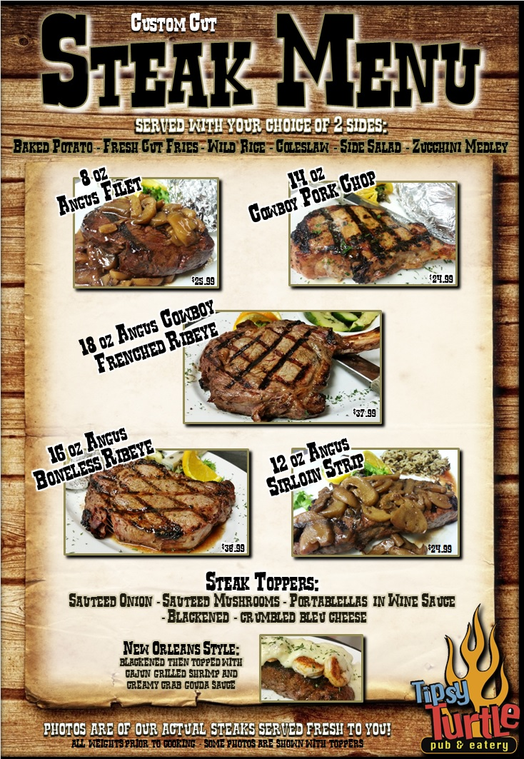 Steak Menu Tipsy Turtle Pub Sports Bar Catering Nepa